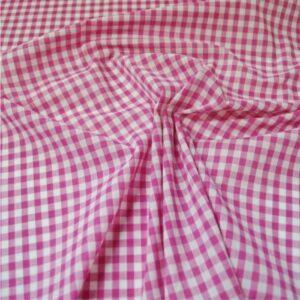 Polycotton Gingham 1/4 Pink