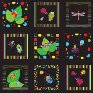 100% Cotton vibrant bugs squares