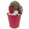 Crochet Robin and bucket