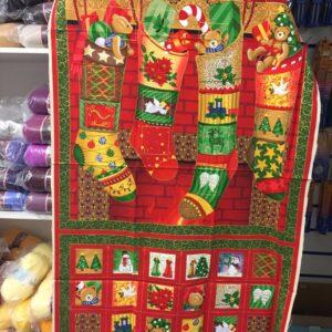 Advent Calendar Christmas Panel 100% Cotton Santas Stockings
