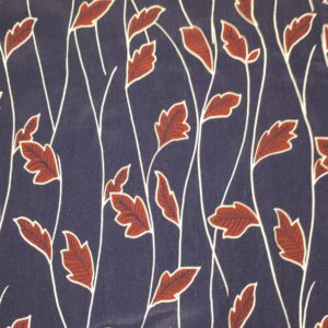 Navy Viscose with autumn leaves