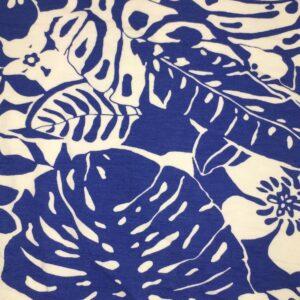 Royal blue/white Viscose/Lycra flower