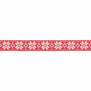 Christmas Ribbon Satin Nordic Snowflakes